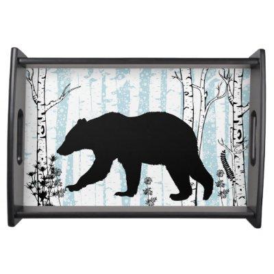 Black Bear With Birch Blue Sky Serving Tray