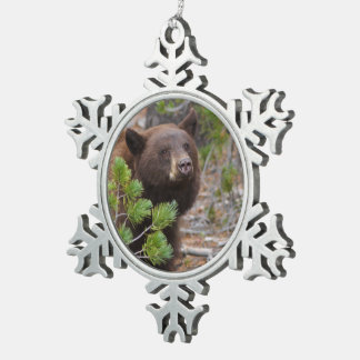 Black Bear with Blond Color Snowflake Pewter Christmas Ornament