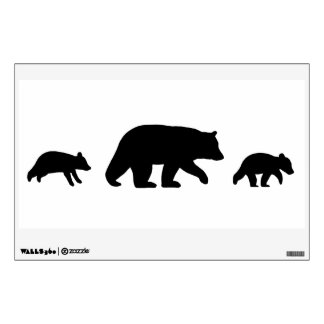 Black Bear with Cubs on White Background Wall Sticker