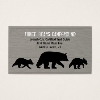 Black Bear with Cubs Silhouettes Business Card