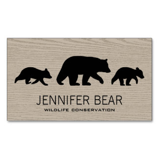 Black Bear with Cubs Silhouettes Business Card Magnet