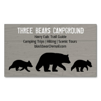 Black Bear with Cubs Silhouettes Magnetic Business Card