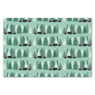 Black Bear with Cubs Silhouettes Tissue Paper