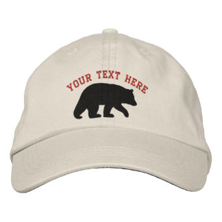 Black Bear with Customizable Text Embroidered Baseball Cap