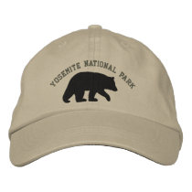 Black Bear with Customizable Text Embroidered Baseball Hat