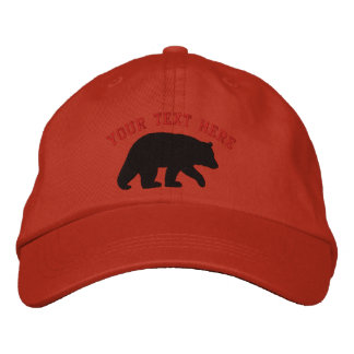 Black Bear with Customizable Text Embroidered Hat