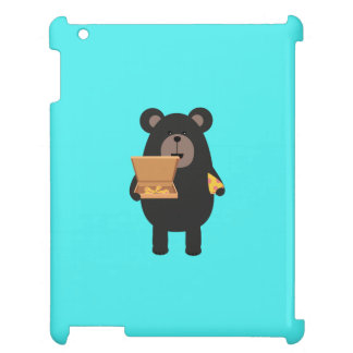 Black Bear with pizza Q1Q Cover For The iPad