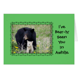 Black Bear with White Cub, Miss You, Military Card