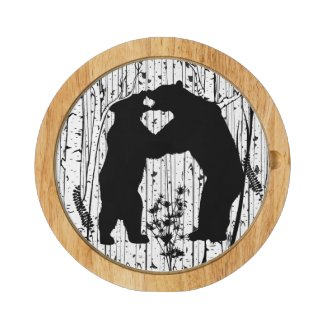 Black Bears at Play Birch Forest Round Cheese Board