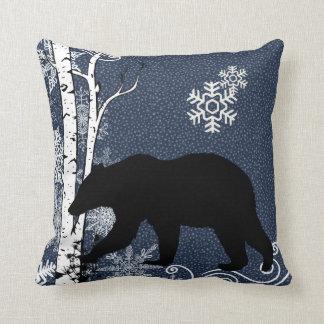 Black Bears in Winter Birch Forest Throw Pillow