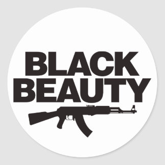 Black Beauty AK - Black Classic Round Sticker