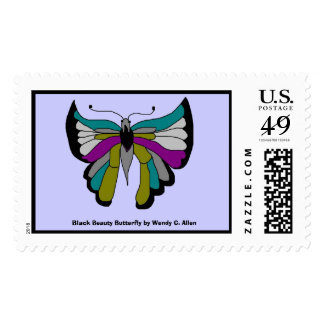 Black Beauty Butterfly by Wendy C. Allen Postage Stamps