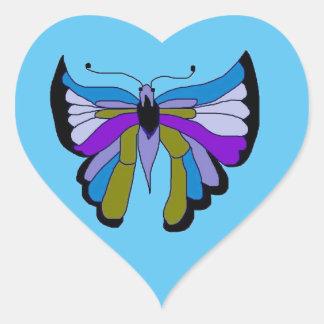 Black Beauty Butterfly in Blue Heart Sticker