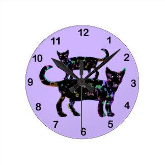 Black Beauty Cats Round Wall Clocks