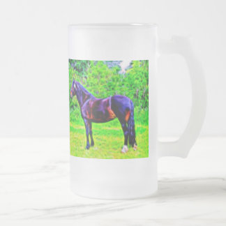 Black Beauty Frosted Glass Beer Mug