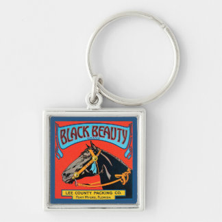 Black Beauty Horse on Red Background Keychain