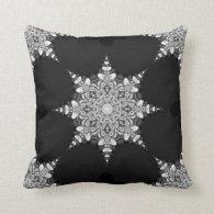 Black Beauty Mandala Snowflake Cushion Pillow