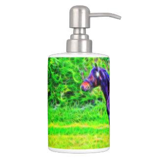 Black Beauty Soap Dispenser And Toothbrush Holder