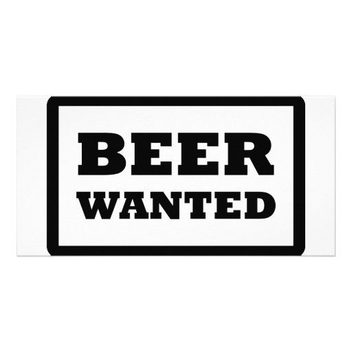 black beer wanted icon personalized photo card