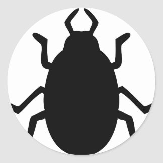black beetle icon classic round sticker