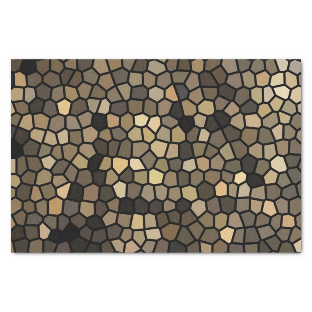 Black, beige and brown mosaics tissue paper