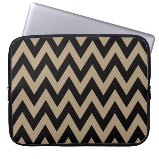 Black Beige Chevron Pattern Laptop Sleeves
