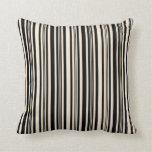 [ Thumbnail: Black & Beige Colored Lined Pattern Throw Pillow ]