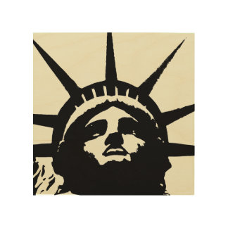 Black Beige Pop Art Statue of Liberty Wood Canvas Wood Wall Art