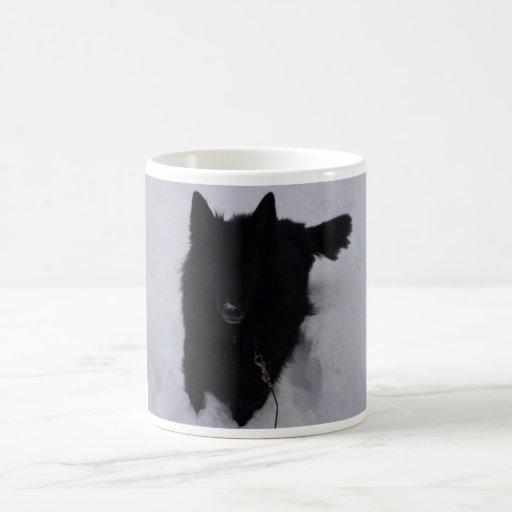 Black Belgian Shepherd in the Snow Mug