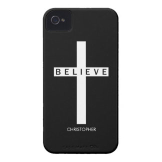 Black Believe Cross Personalized iPhone 4/4S Case