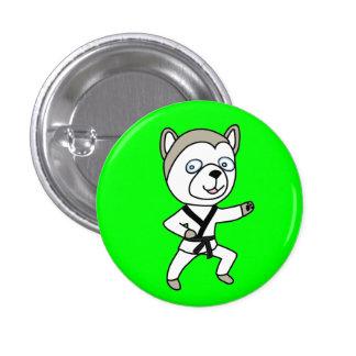 Black Belt Husky Dog Button