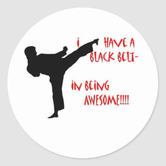 Black belt in awesome classic round sticker