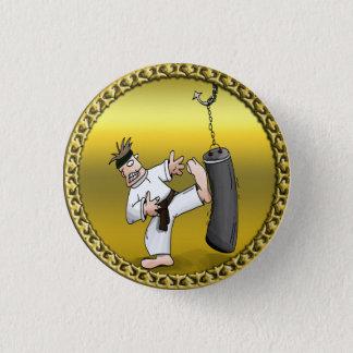 Black belt karate man kicking a black training bag pinback button