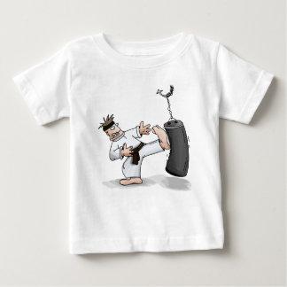 Black belt karate man kicking a training bag baby T-Shirt