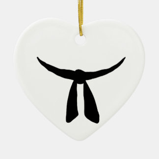 Black Belt Party Double-Sided Heart Ceramic Christmas Ornament
