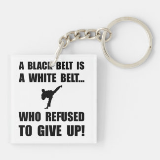 Black Belt Refusal Double-Sided Square Acrylic Keychain