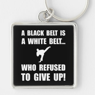 Black Belt Refusal Silver-Colored Square Keychain