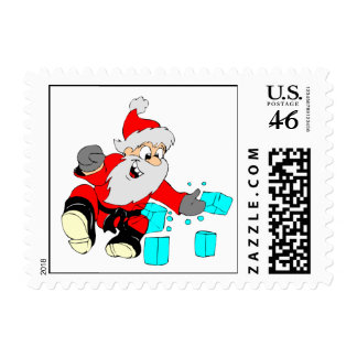 Black Belt Santa Postage Stamps