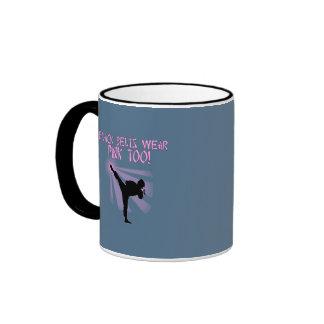 Black Belts Wear Pink Too! Ringer Coffee Mug