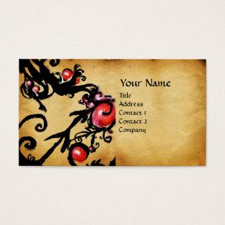 BLACK  BERRIES SWIRLS  parchment Business Card