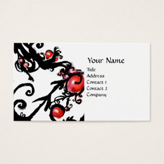 BLACK  BERRIES SWIRLS white red Business Card
