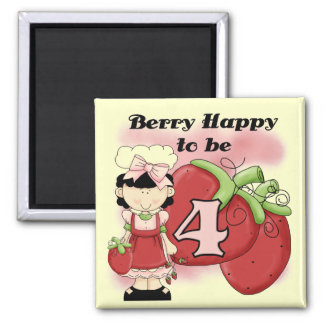 Black Berry 4th Birthday Tshirts and Gifts 2 Inch Square Magnet