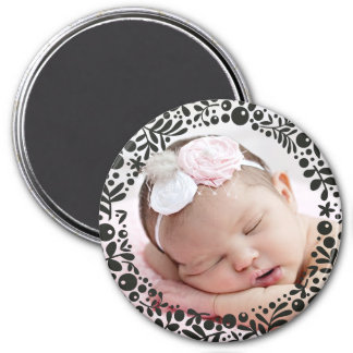 Black Berry Framed Baby Photo 3 Inch Round Magnet