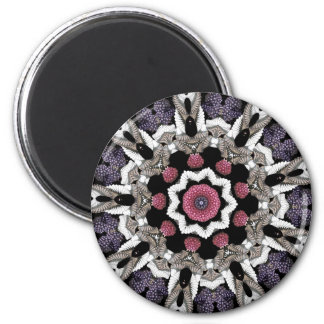 Black Berry Kaleidoscope 2 Inch Round Magnet