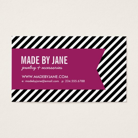 Black & Berry Purple Modern Stripes & Ribbon Business Card