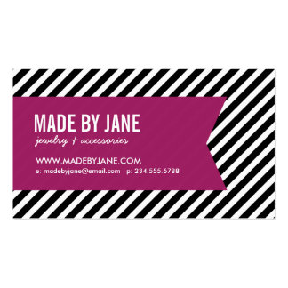Black & Berry Purple Modern Stripes & Ribbon Business Card Templates