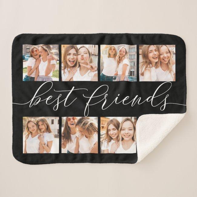 Black | Best Friends Photo Collage Sherpa Blanket