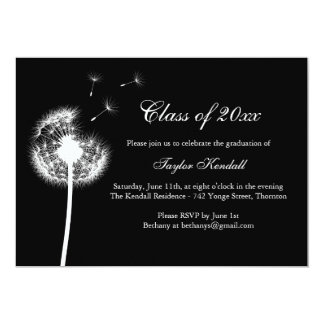 "Black Best Wishes Graduation Invitation 5"" X 7"" Invitation Card"