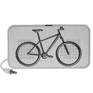 Black bicycle and white background B W Portable Speakers