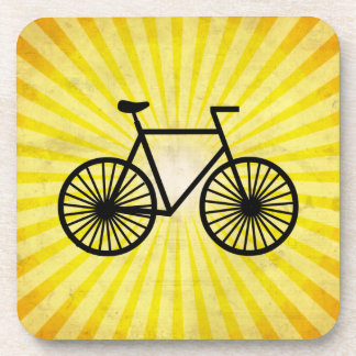 Black Bicycle; Yellow Background Beverage Coaster